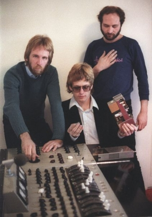 Me, Solberg and Alexander with their Redd 37 (Beatles) console from Abbey Road Studio One